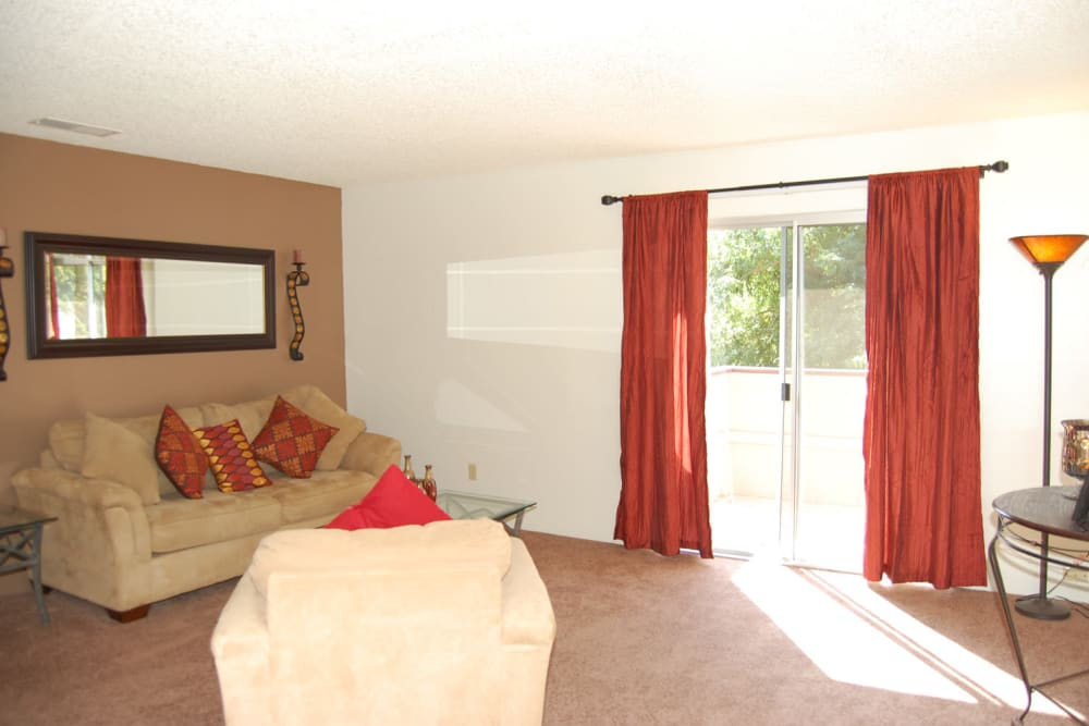 Spacious living room at Emerald Pointe apartments