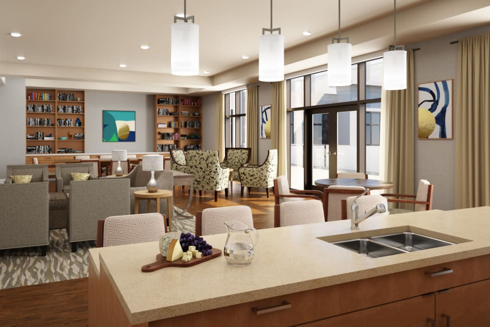 Kitchen and lounge area at Anthology of Mayfield Heights in Mayfield Heights, Ohio