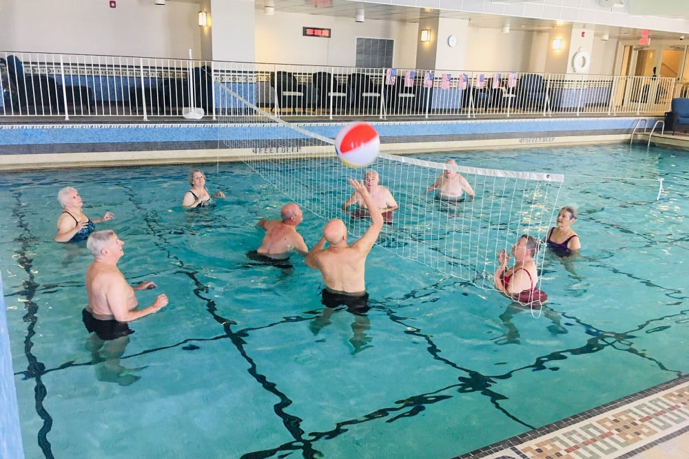 A game of volleyball is played in the pool at The Chamberlin in Hampton, Virginia