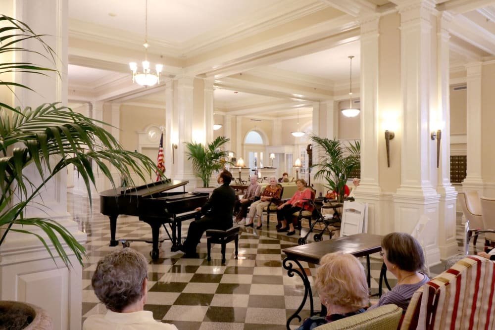 The grand piano is played at The Chamberlin in Hampton, Virginia
