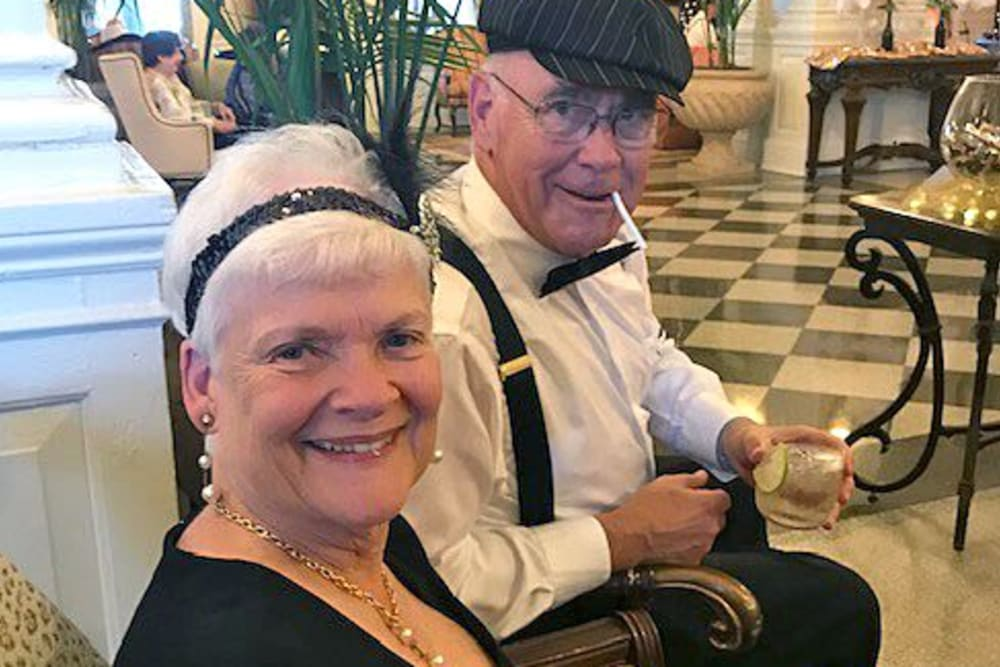 Residents celebrate Gatsby night at The Chamberlin in Hampton, Virginia