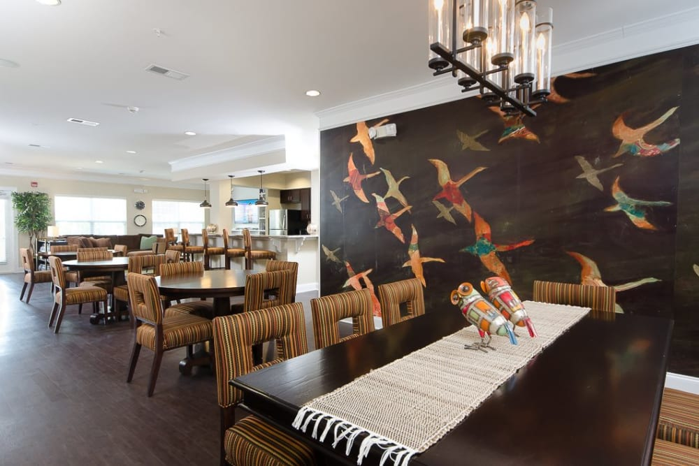 Community dining room at Oasis at Montclair Apartments in Dumfries, Virginia