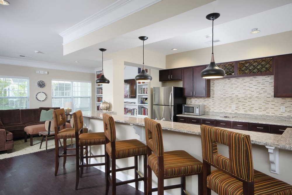 Clubhouse kitchen at Oasis at Montclair Apartments in Dumfries, Virginia