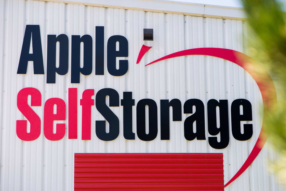 Logo on the building at Apple Self Storage - Saint John North in Saint John, New Brunswick