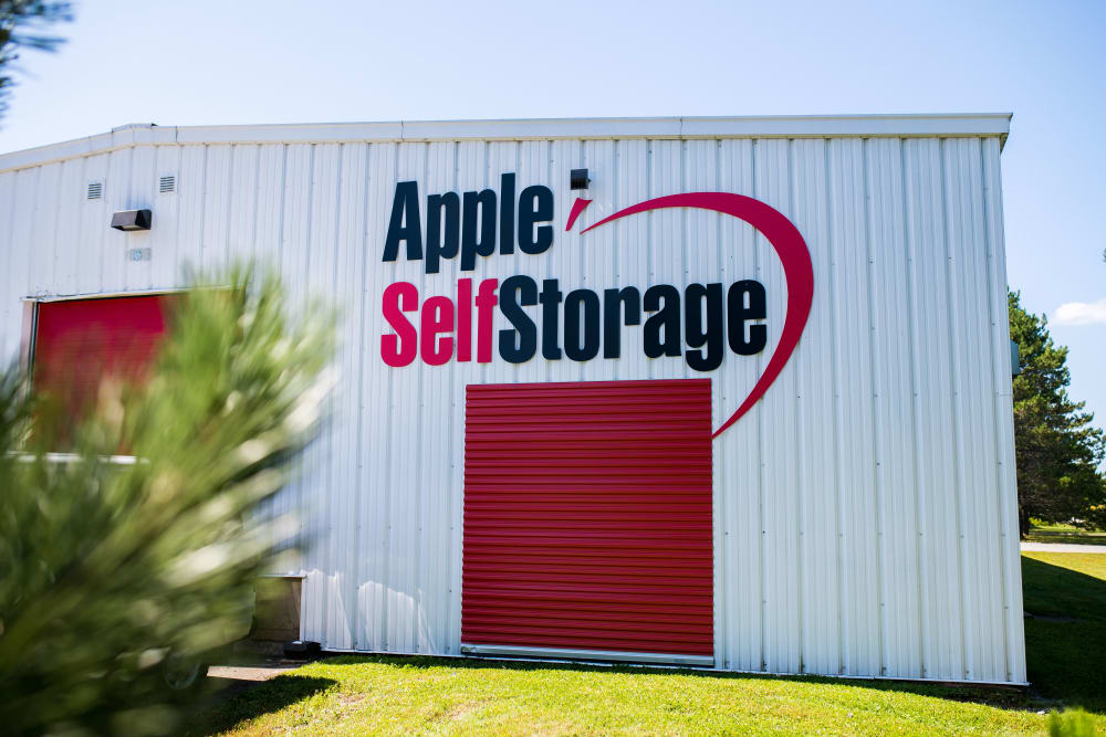 Logo and doorway at Apple Self Storage - Saint John North in Saint John, New Brunswick