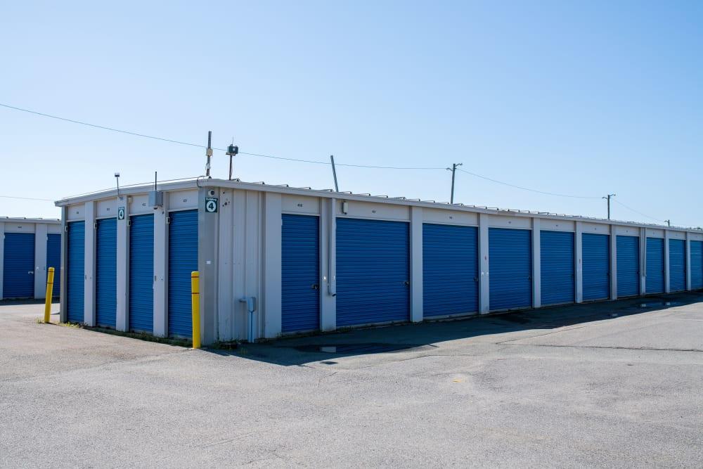 Blue doors on storage units at Apple Self Storage - Saint John West in Saint John, New Brunswick