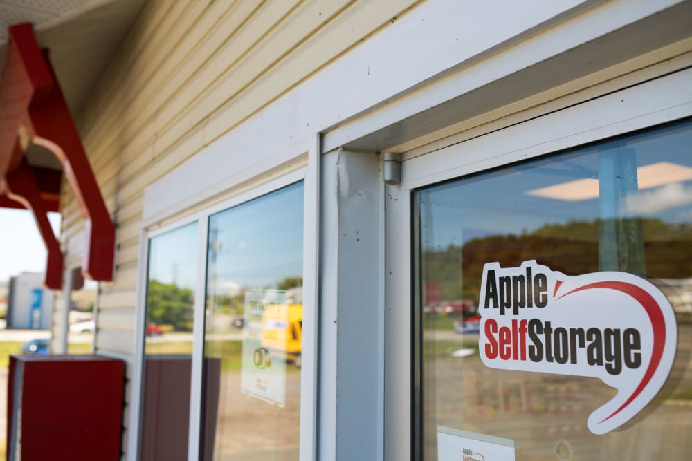 Logo on front door at Apple Self Storage - Saint John West in Saint John, New Brunswick