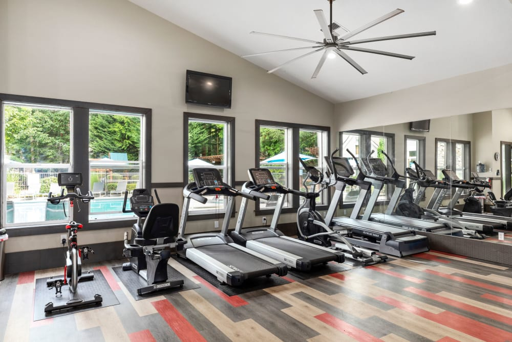 newly renovated fitness center with views to the pool