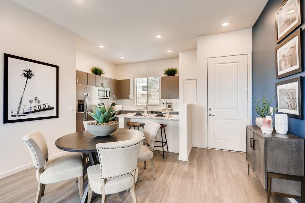 Modern kitchen with beautiful hardwood floors at Avilla Meadows in Surprise, Arizona