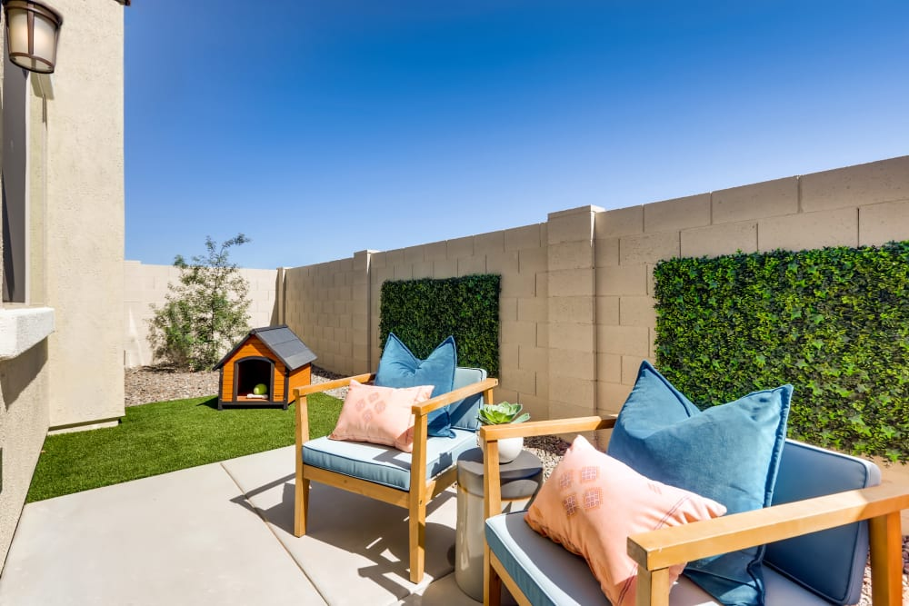 Lounge chairs outside at Avilla Meadows in Surprise, Arizona