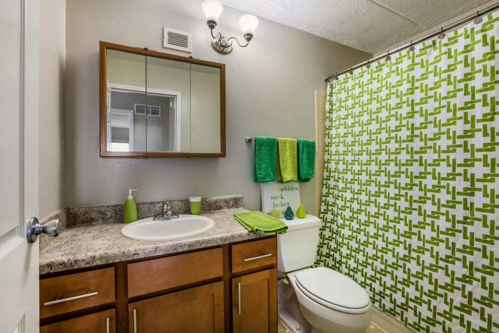 Bathroom mirror at Concord Towers Apartments in Madison Heights, Michigan