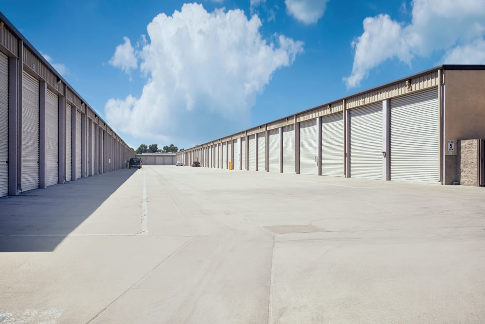 Drive-up storage units at Stor'em Self Storage in Rancho Cucamonga, California