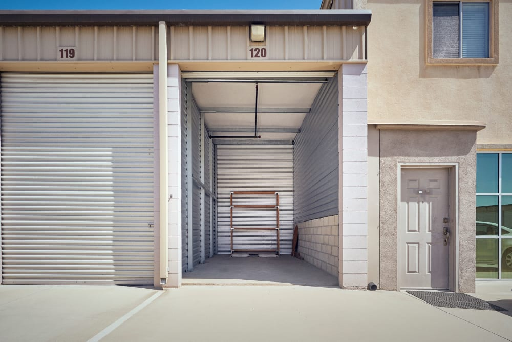 Open storage unit at Stor'em Self Storage in Rancho Cucamonga, California