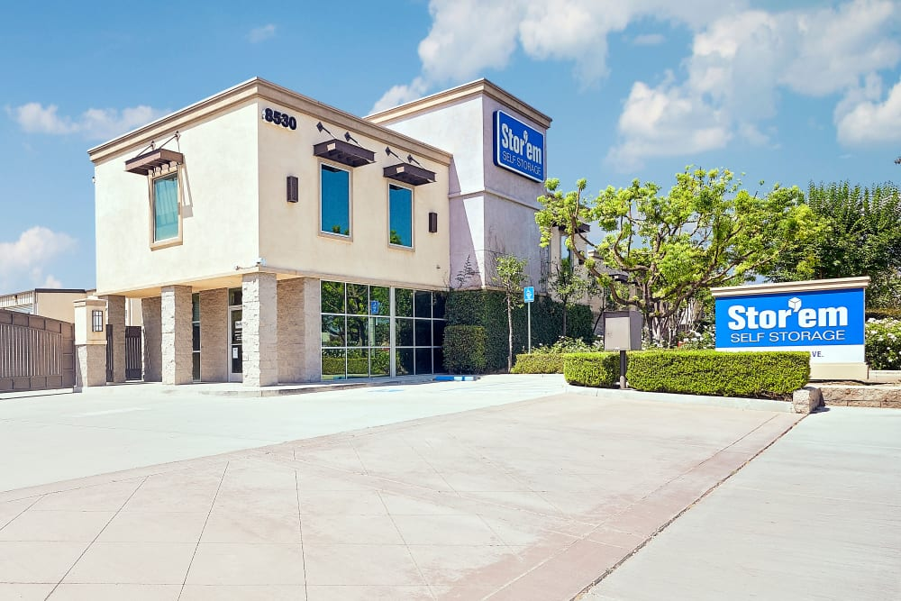The front of the building at Stor'em Self Storage in Rancho Cucamonga, California