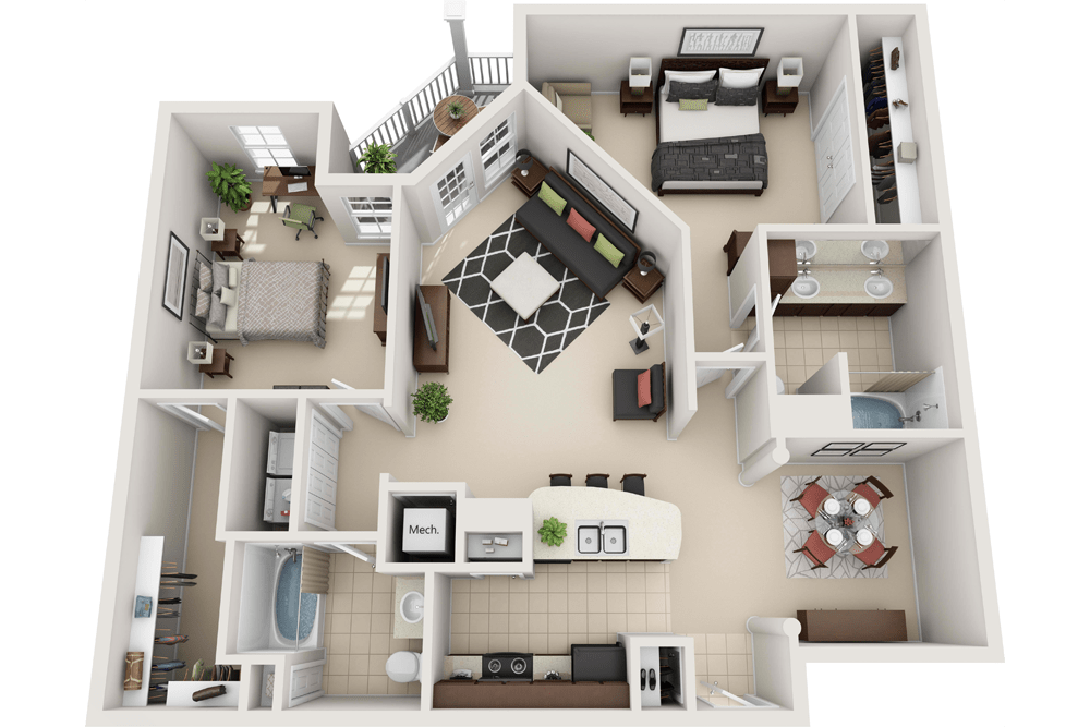 1, 2 & 3 Bedroom Apartments in Towson, MD Floor Plans ...