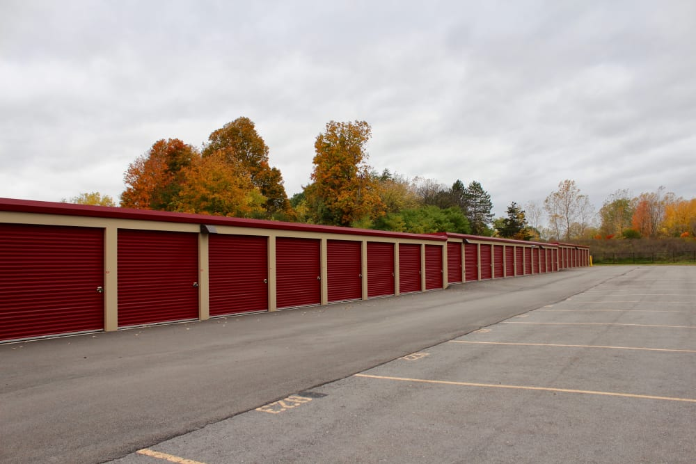 Driveway through self storage units at Global Self Storage in West Henrietta, New York