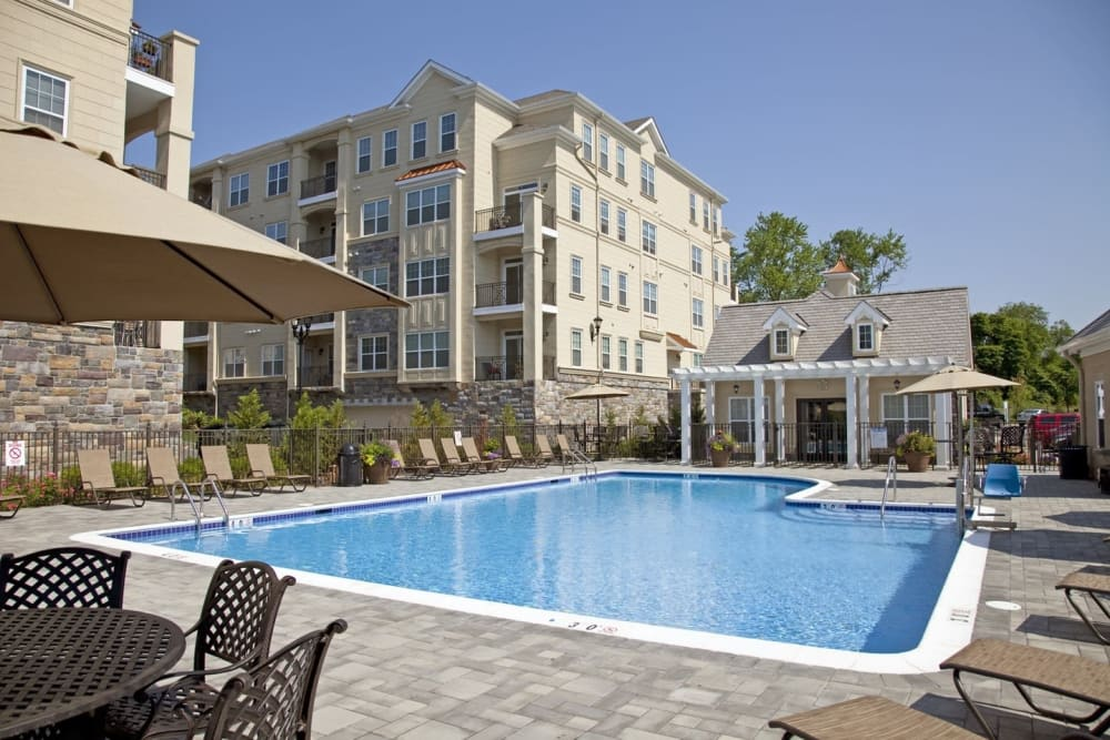 Resort-style swimming pool at Presidential Place Apartments in Lebanon, New Jersey