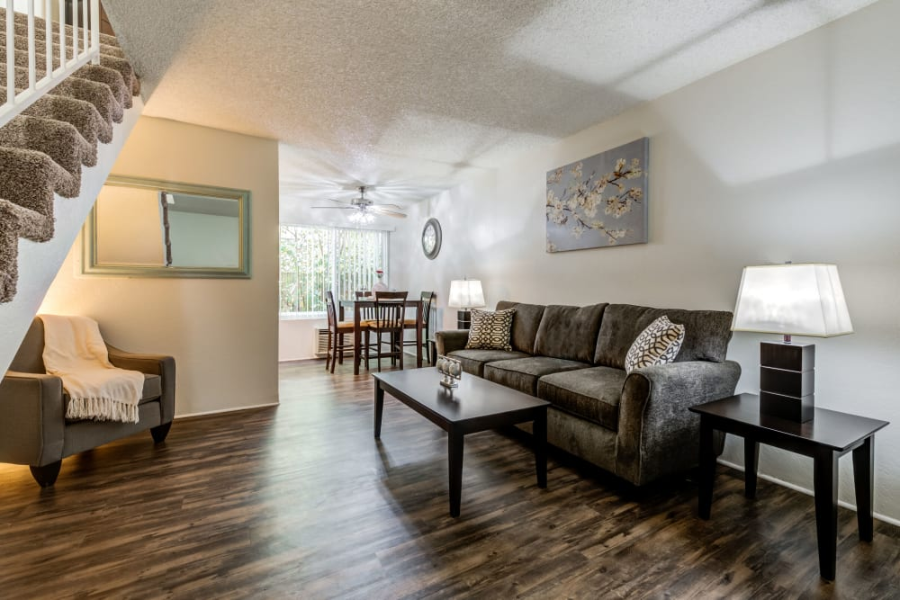 Spacious living room with wood style floors at Vista Pointe I in Studio City, California