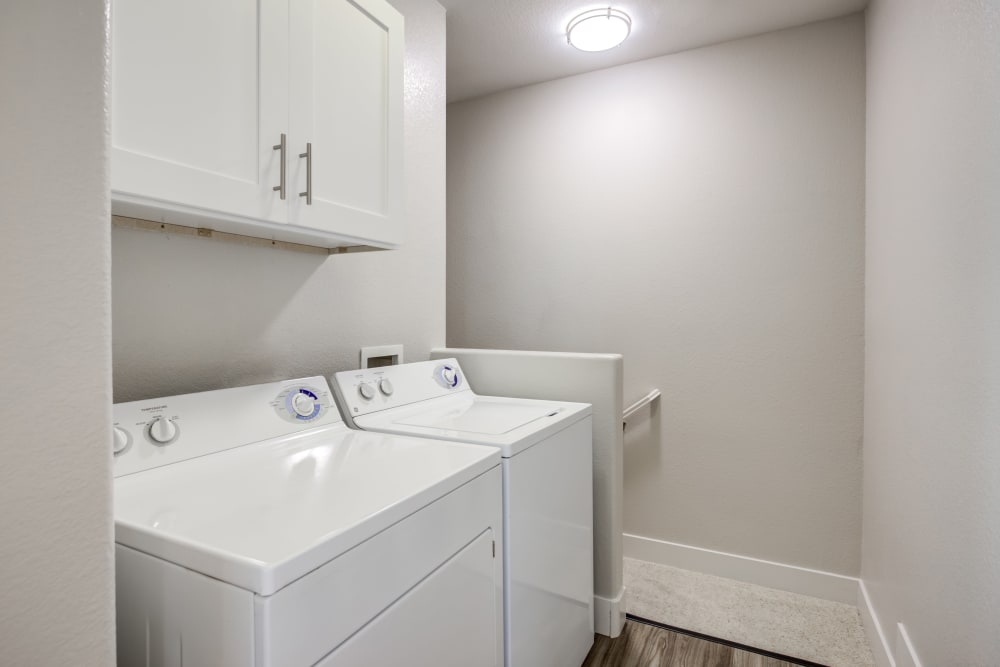 In-unit washer and dryer in a model home at Sofi Westview in San Diego, California