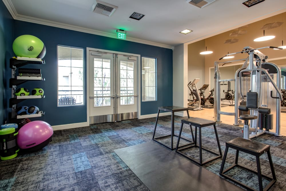 Very well-equipped onsite fitness center at Sofi Westview in San Diego, California