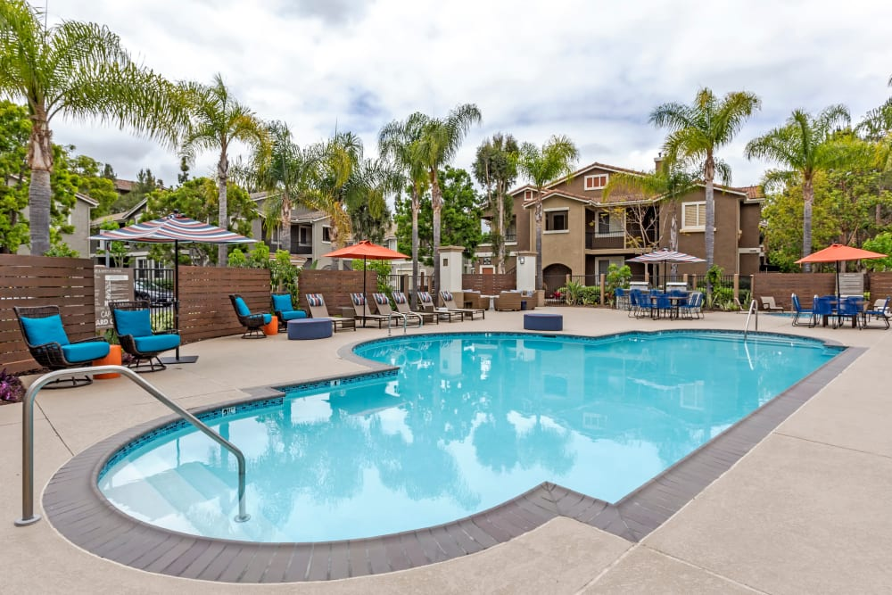 Resort-style swimming pool at Sofi Westview in San Diego, California
