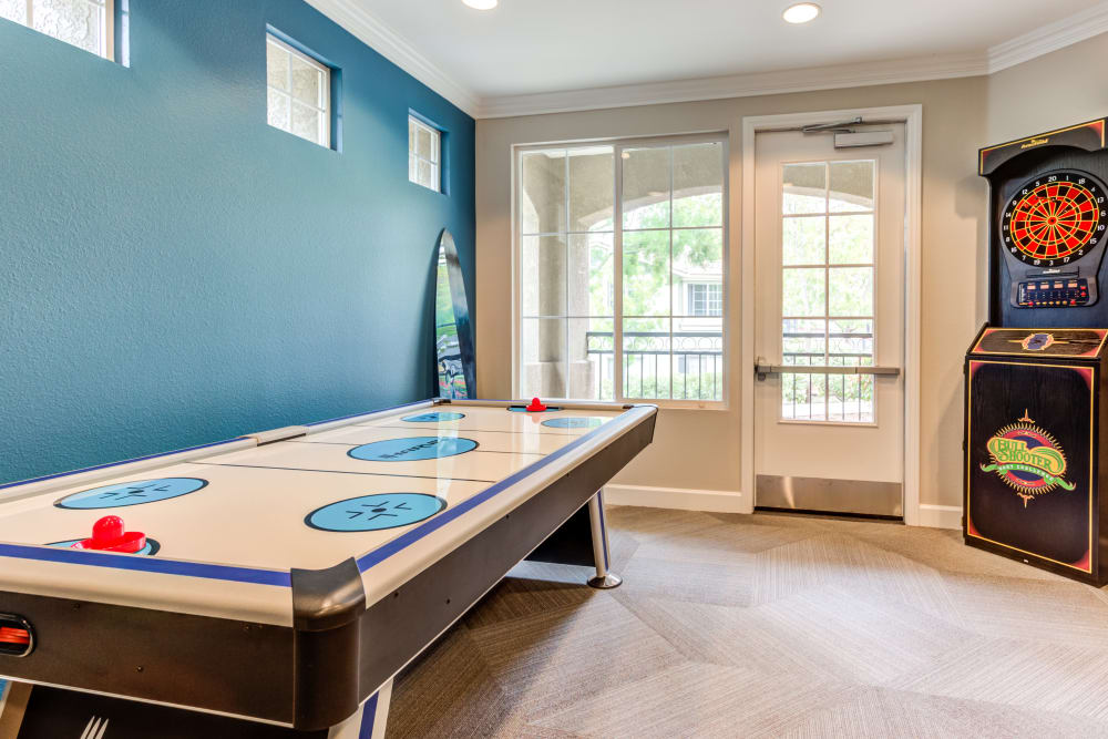 Air hockey and more in the game room at Sofi Westview in San Diego, California
