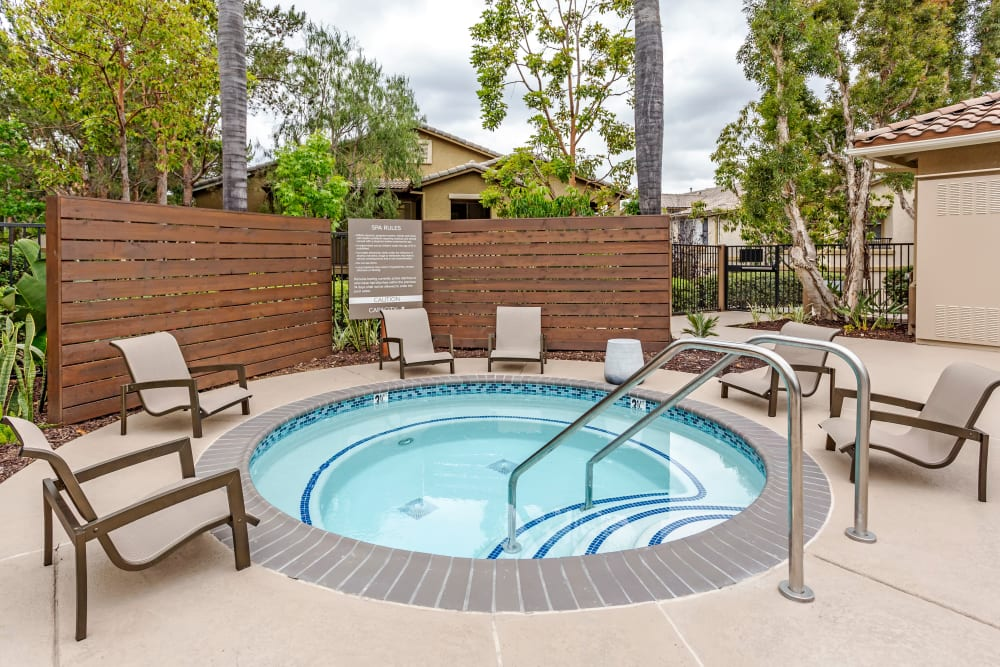Spa area with comfortable seating nearby at Sofi Westview in San Diego, California