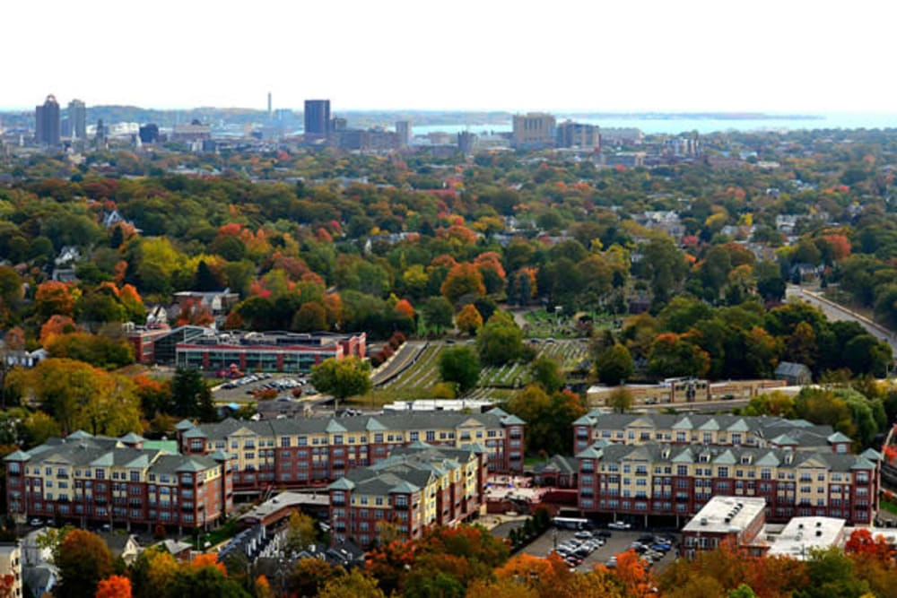 Aerial view of Westville Village Apartments in New Haven, Connecticut