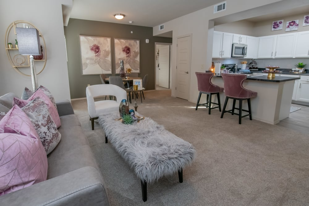 Spacious living rooms at Bend at New Road Apartments in Waco, Texas.