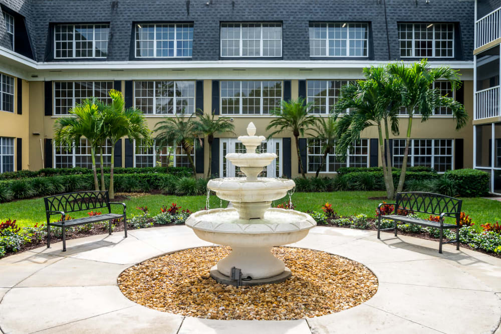 Courtyard water fountain at Grand Villa of Delray West in Florida