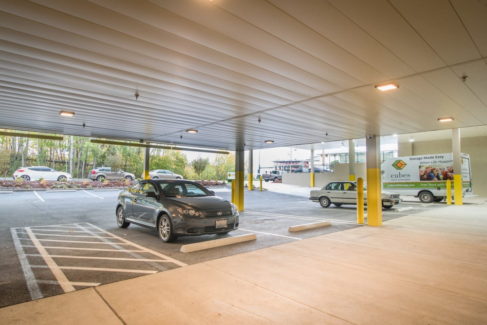 Covered bay parking at Cubes Self Storage in Kirkland, Washington