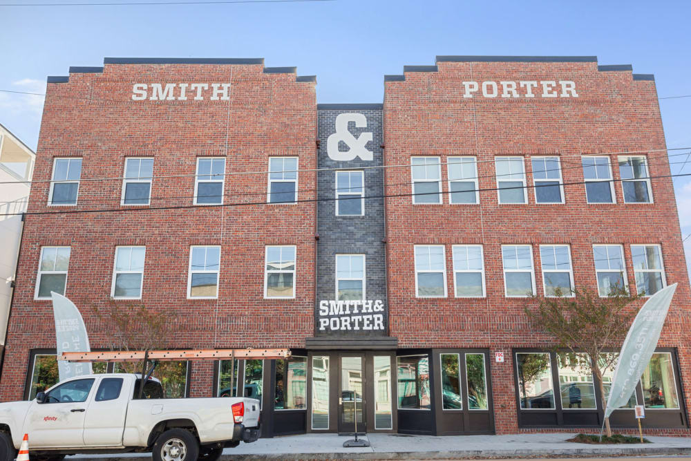Exterior photo of apartments at Smith & Porter in Atlanta, Georgia
