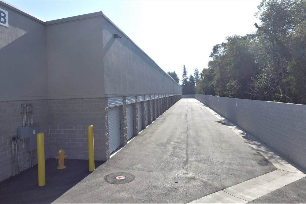 Outdoor storage units at First Rate Storage in Stockton, California