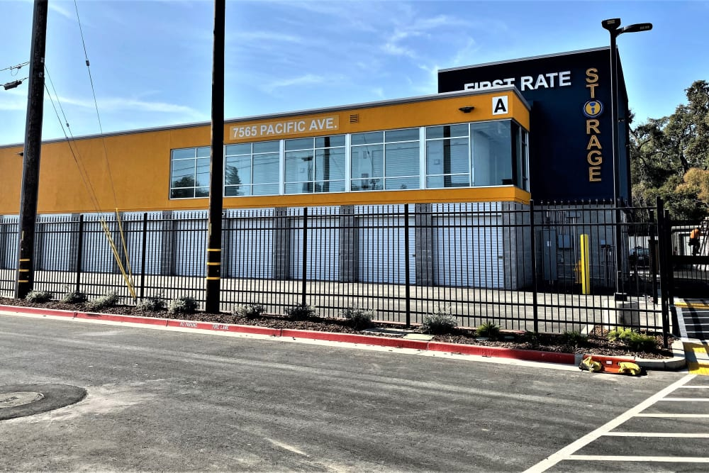 Gated security at First Rate Storage in Stockton, California