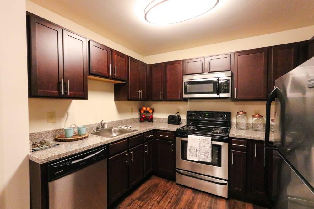 Full kitchen at Harmony at Harts Run in Glenshaw, Pennsylvania