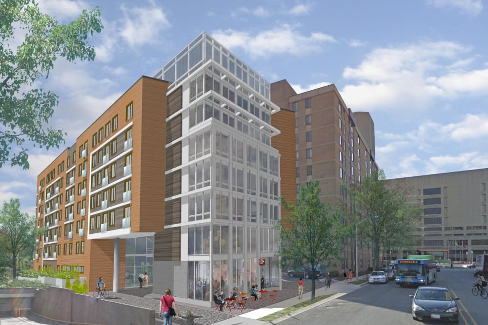 A rendering of the exterior of Main Street Apartments in Rockville, Maryland