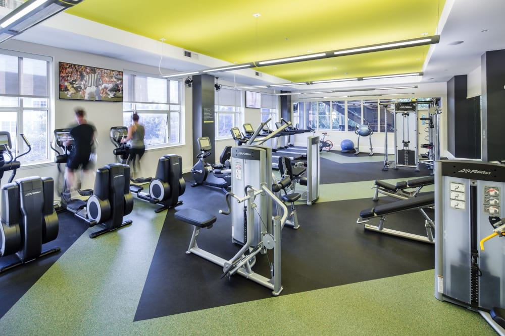 Well-equipped onsite fitness center at Sofi at 50 Forest in Stamford, Connecticut