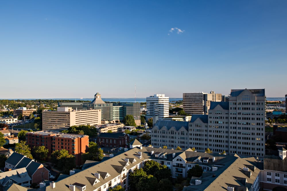 View of the city skyline from an upper floor at Sofi at 50 Forest in Stamford, Connecticut