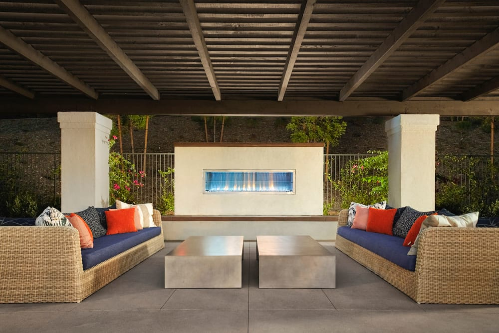 Beautiful outdoor seating area at The Trails at Canyon Crest in Riverside, California