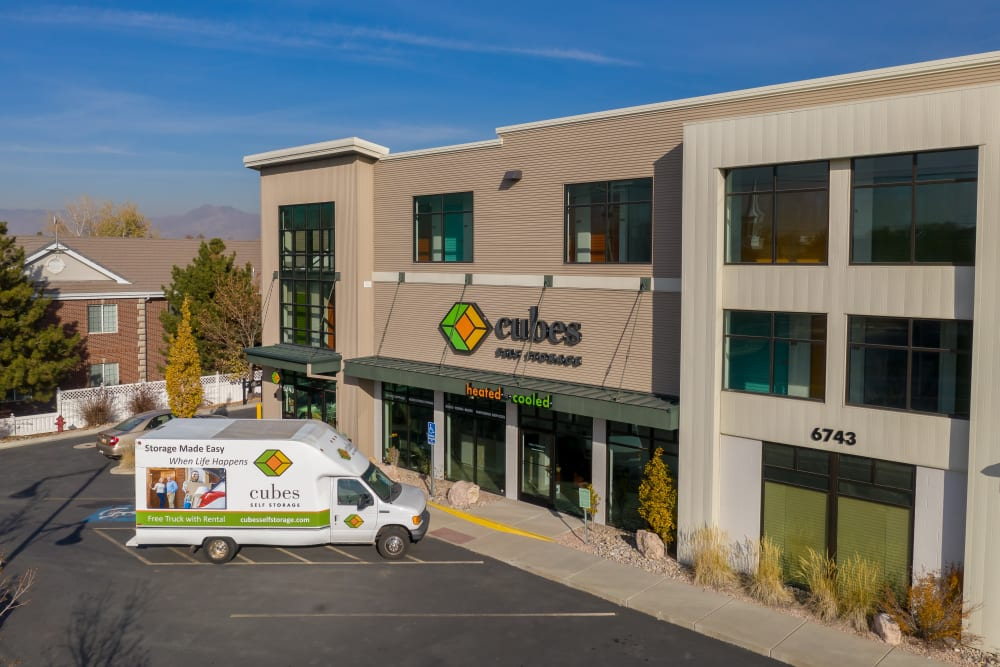The office building at Cubes Self Storage in Cottonwood Heights, Utah