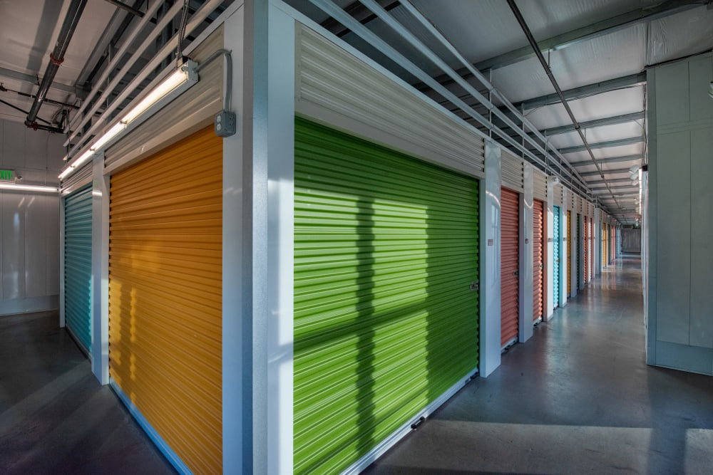 A row of storage units at Cubes Self Storage in Farmington, Utah