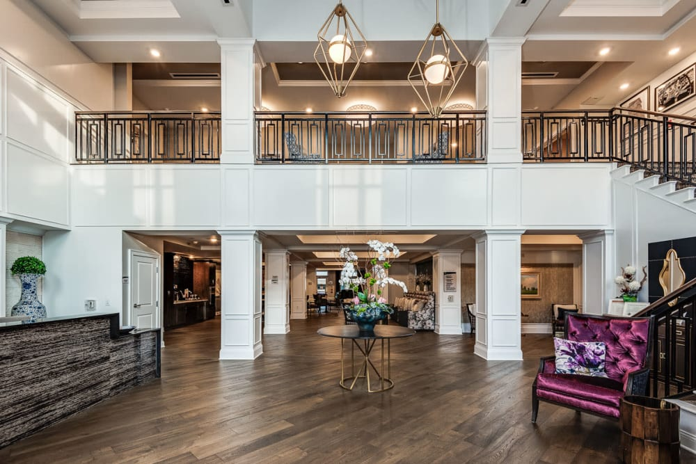 Lobby with hardwood floors at Anthology of Meridian Hills in Indianapolis, Indiana