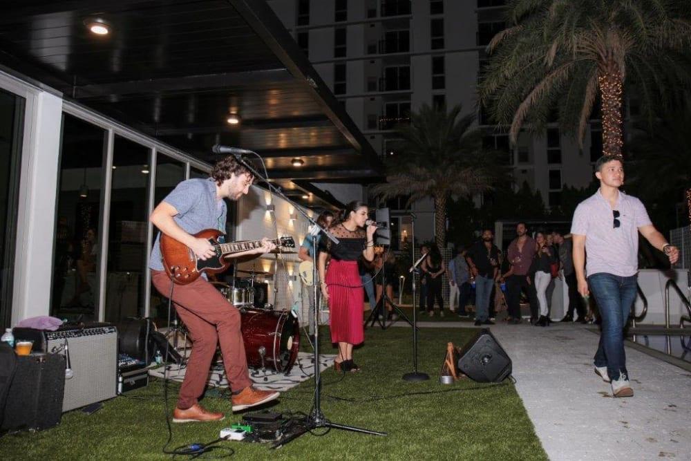 Music played at Yard 8 Midtown in Miami, Florida