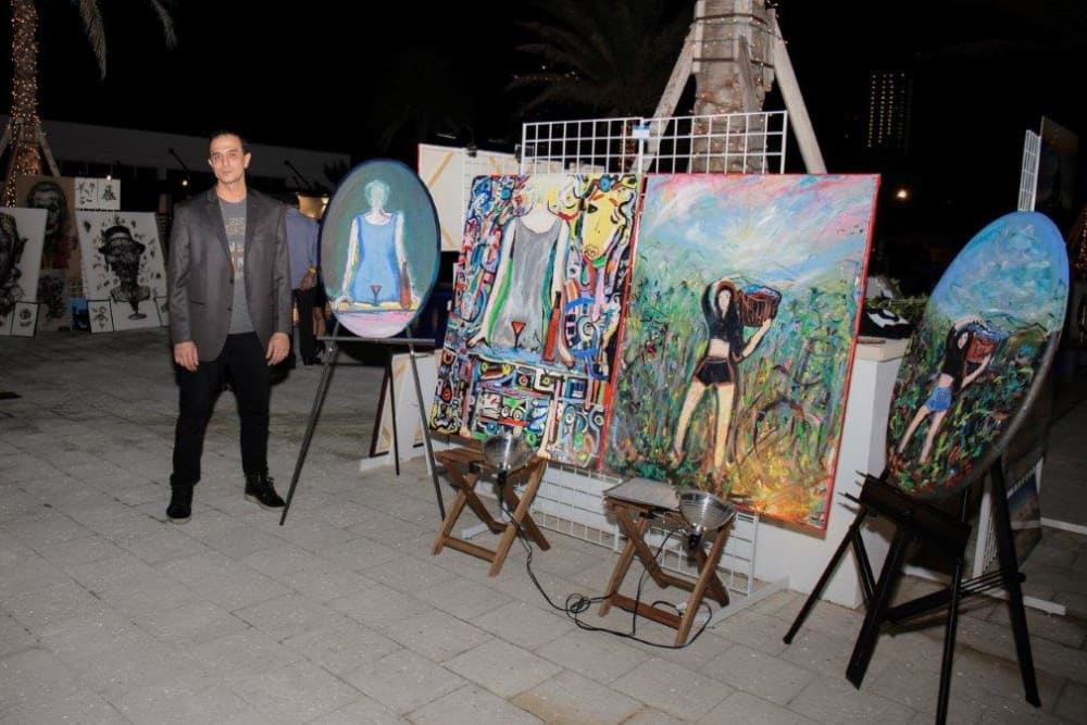 Beautiful art during event at Yard 8 Midtown in Miami, Florida