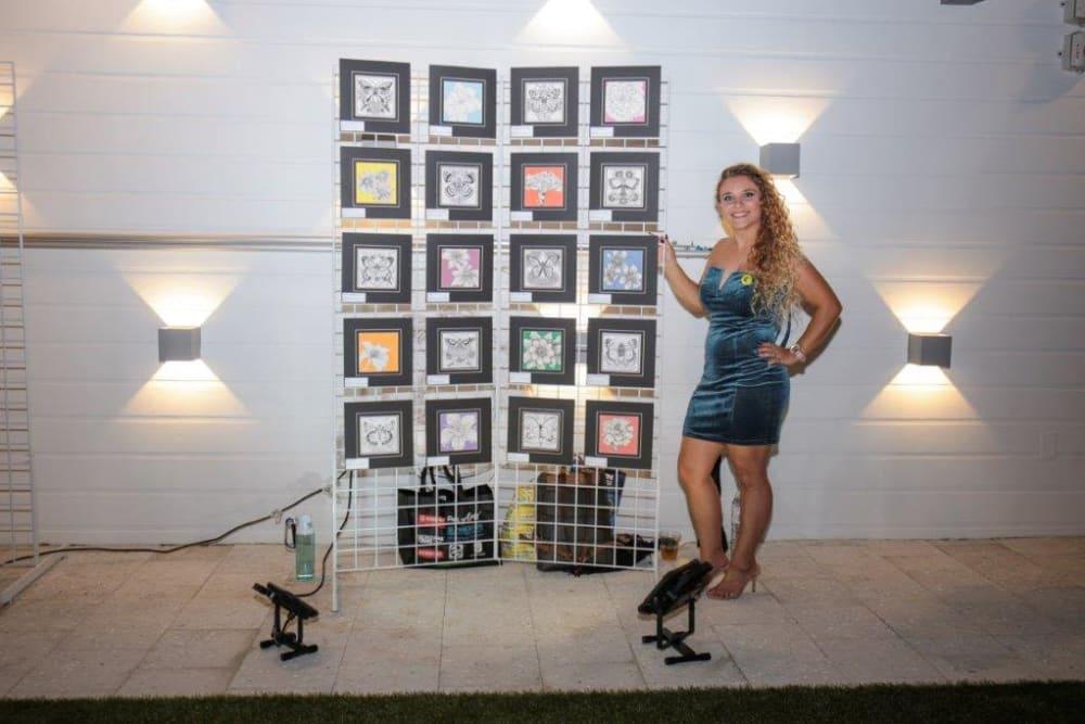Yard 8 Midtown in Miami, Florida resident displaying art