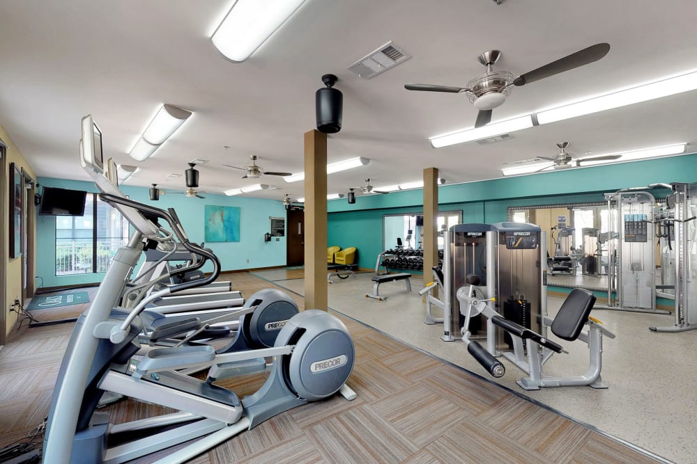 State-of-the-art fitness center at Oaks 5th Street Crossing at City Station in Garland, Texas