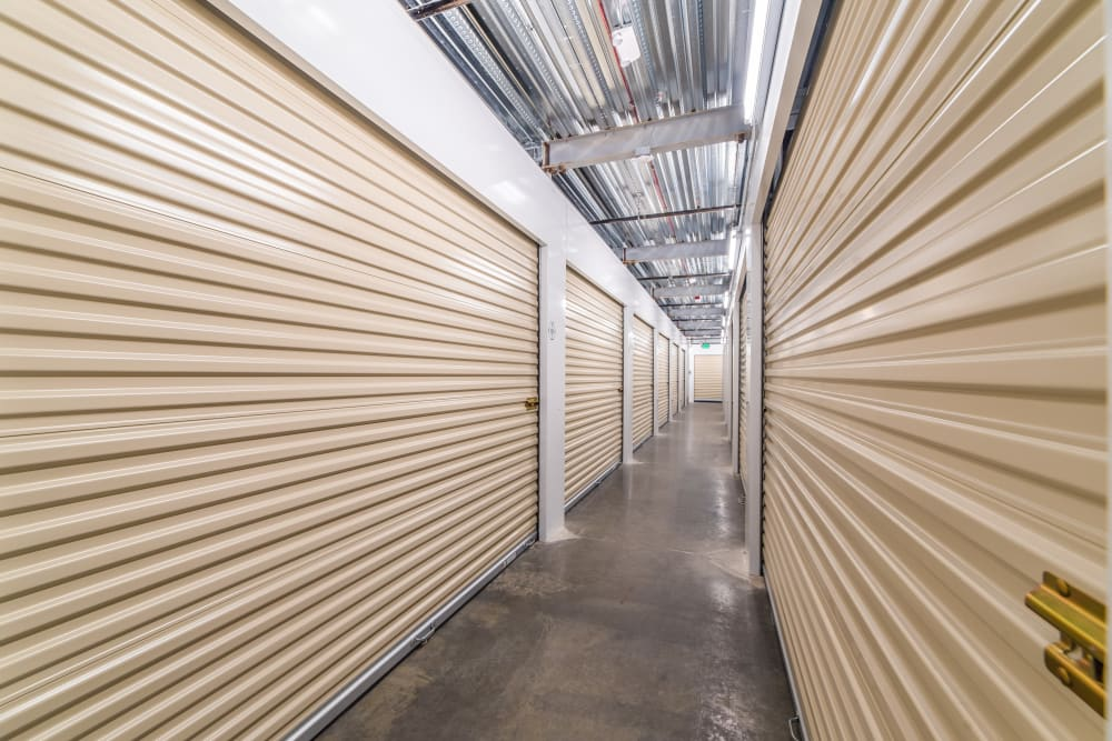 A row of temperature-controlled storage units at Cubes Self Storage in Covington, Washington