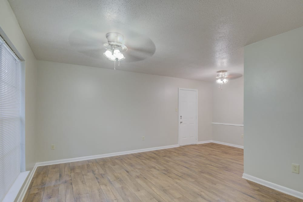 Wood flooring in an apartment living room at Towne Oaks in Shreveport, Louisiana