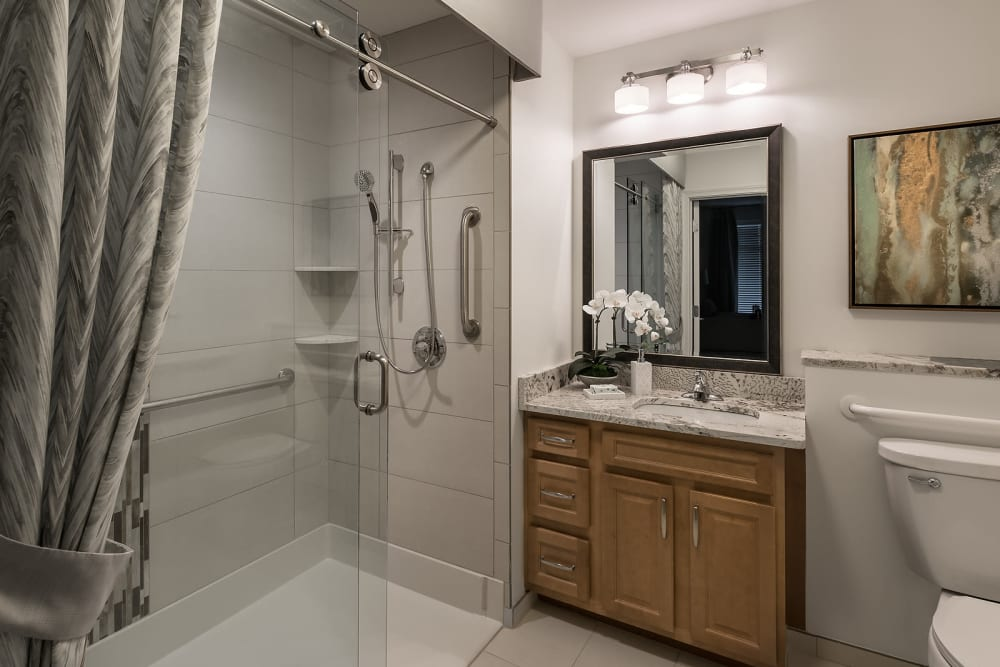 Master bathroom at Cedarbrook of Rochester