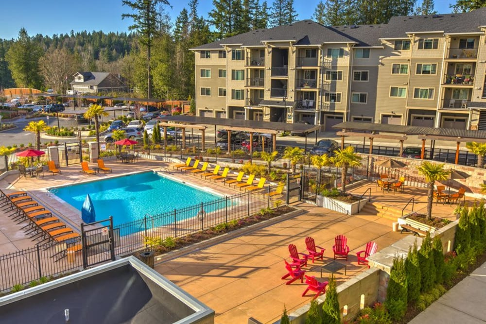 Overview of the pool area at Vue Issaquah in Issaquah, Washington